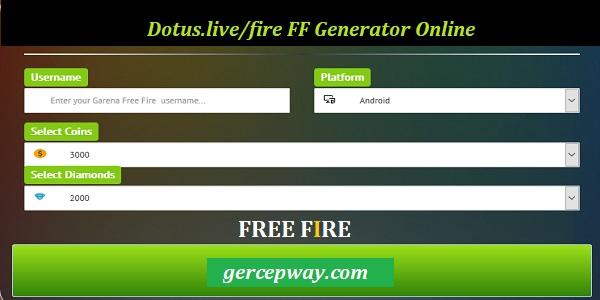 Dotus.live/fire FF Generator Online Unlimited Diamond