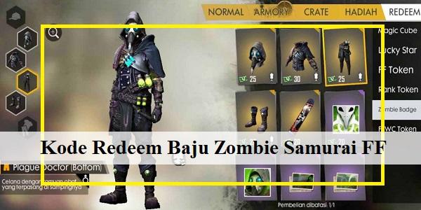 Kode Redeem Baju Zombie Samurai Free Fire